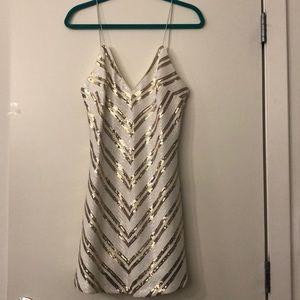 White & Gold Chevron Backless Dress